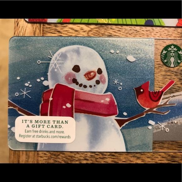 SNOWMAN WITH BIRD STARBUCKS CARD 2014 COLLECTIBLE